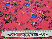 Одёжная ткань французский трикотаж розового цвета с принтом, фото 1