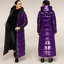 Жіночий зимовий пуховик максі ПВ-1202 Лак Тон 16 + 160 Тон, 44-54р
