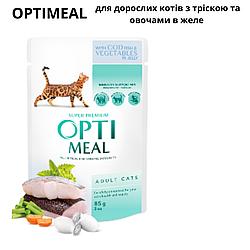 Пауч Optimeal Adult Оптиміл для дорослих котів з тріскою та овочами в желе 85 г
