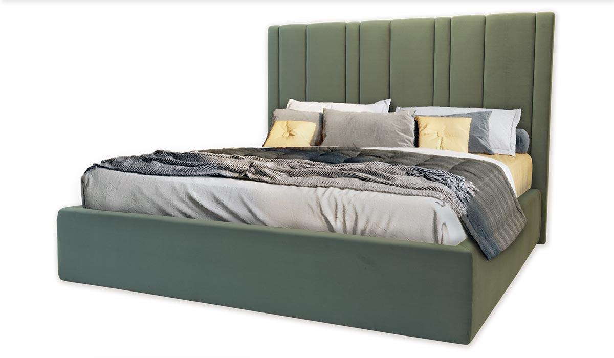 Кровать Эстер двухспальная 160х200, ортопедическая эко кожа, ткань. высокое изголовье. Под заказ