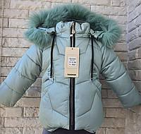 Куртка зимняя на девочку 80-104 размер бирюза, фото 1
