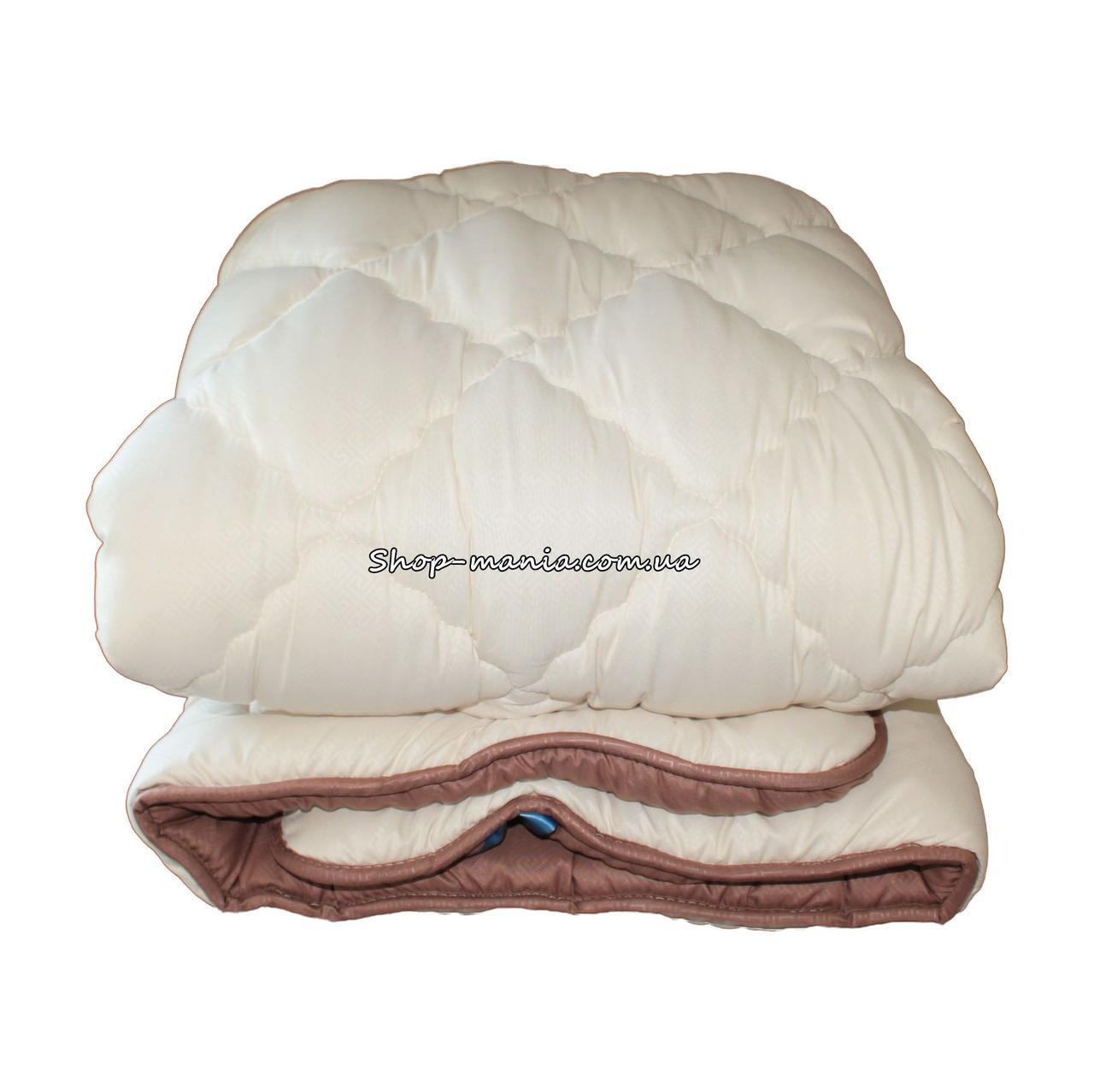 Одеяло зимнее теплое стеганное полуторное 155х210 см холлофайбер ODA SM 8007-1 biege and brown