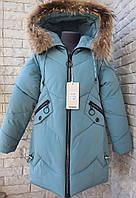 Куртка зимняя на девочку 8-12 лет бирюза, фото 1