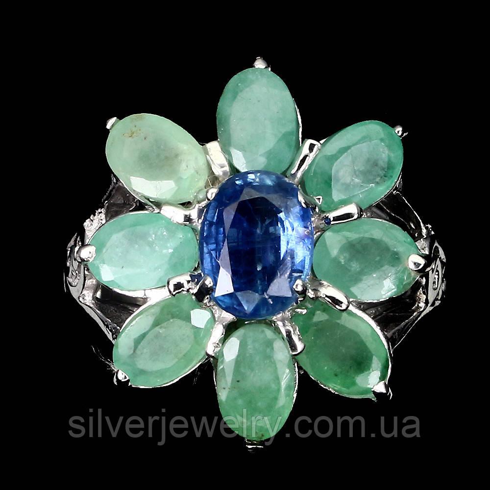 Серебряное кольцо с КИАНИТОМ и ИЗУМРУДОМ (натуральный!!), серебро 925 пр. Размер 17,25