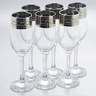 """Набор бокалов 190 мл для шампанского рисунок  """"Версаче"""" 6 шт., фото 1"""