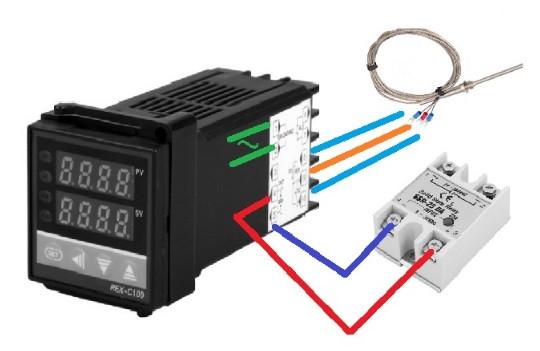 Контроллер температуры с релейным выходом REX-C100FK02-M*EN