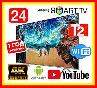 Телевизор Samsung 24 дюйма SMART TV, Full HD, Wi-Fi, с подставкой T2, Самсунг, Смарт ТВ на андроид 9