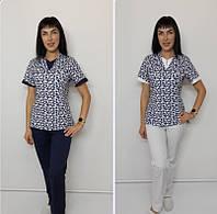Женский медицинский костюм Мишка-принт 46 размер короткий рукав