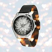 Годинник ZIZ Астра (ремінець з нержавіючої сталі чорний) + ремінець з екошкіри, талісман любові подарунок коханій