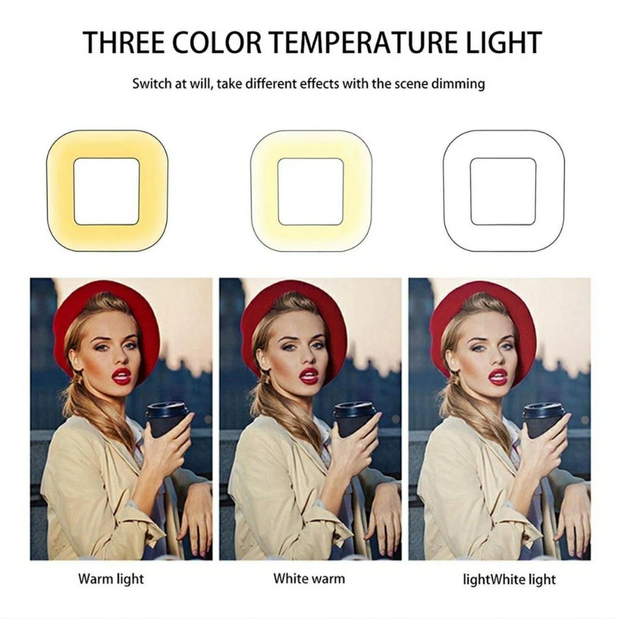 Набір блогера 2в1 квадратна LED лампа 28 см 34W з тримачем телефону і Штатив 210см селфи кільце регулювання