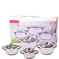 Набір посуду на 4 каструлі для приготування пиши з нержавіючої сталі для індукції