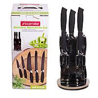 Набір ножів 6 предметів Kamille з нержавіючої сталі з порожніми ручками на акрил.підставці (5 ножів+підставка)