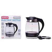 Чайник електричний Kamille 1.8 л з синім LED-підсвічуванням і сталевими декоративними вставками
