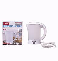 Чайник електричний Kamille 0.6 л пластиковий (білий/матовий c чашками і ложками)