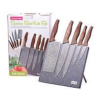 Набір ножів 6 предметів з нержавіючої сталі на підставці з мармуровим покриттям (5 ножів+підставка)