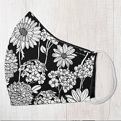 Захисна маска особи Польові чорно-білі квіти 22х11 см (SMM_20S056)