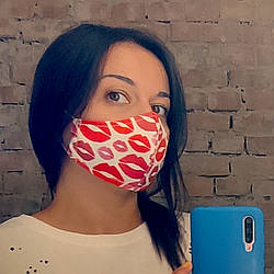Захисна маска особи, розмір S-M Вірю в себе та в червону помаду 22х11 см (SMM_20S054)