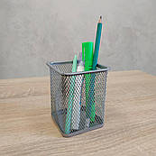 Стакан для ручек квадратный серебро