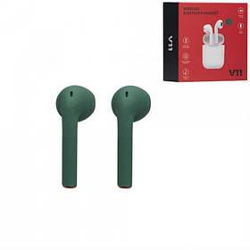 Беспроводные Bluetooth наушники Зеленые Tws V11