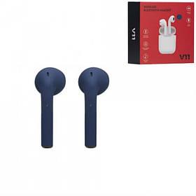 Беспроводные Bluetooth наушники Синие Tws V11