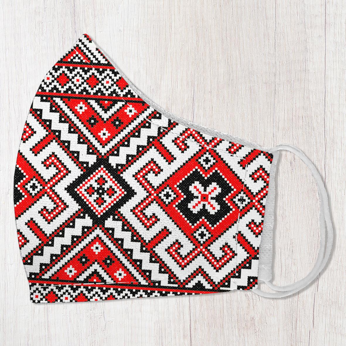 Захисна маска особи Український орнамент на червоному тлі 22х11 см (SMM_20S004)