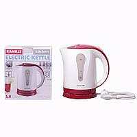 Чайник електричний Kamille 1.8 л пластиковий (білий з червоним)