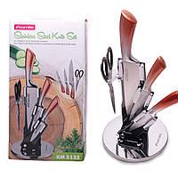 Набір кухонних ножів і ножиці Kamille 5 предметів на акриловій підставці