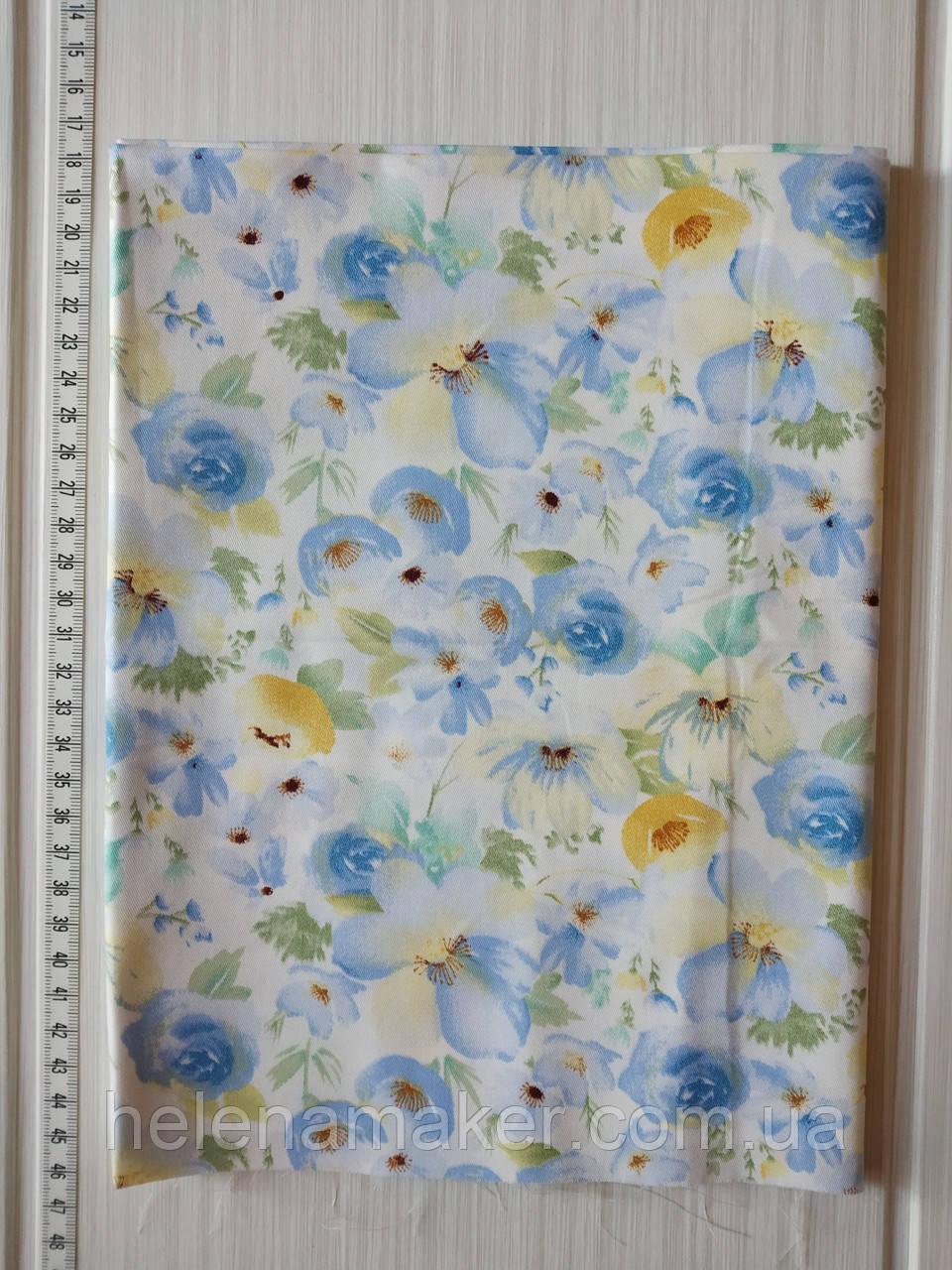 Акварельные голубые цветы. Отрез сатина 40*50 см.