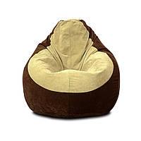 Бескаркасное кресло Флок L, Шоколад, Бежевый