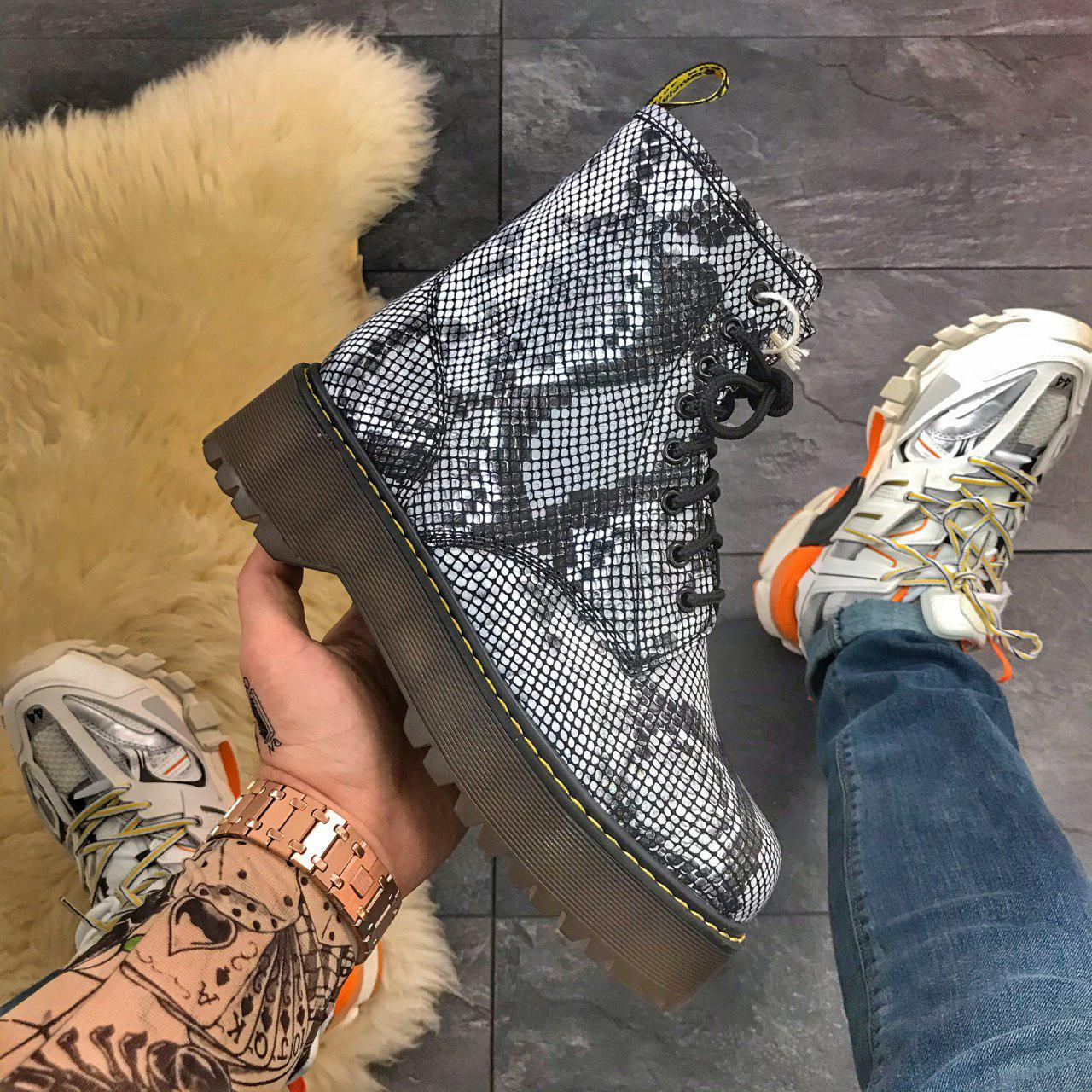 Женские зимние ботинки Dr. Martens Jadon Snake (Мех), др мартенс, жіночі черевики Dr Martens, ботінки мартінс