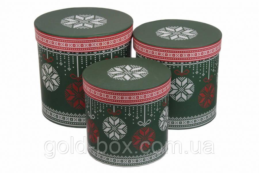 Новогодние подарочные коробочки 3 в 1 круглые