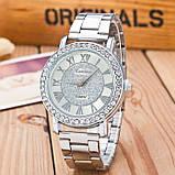 Женские наручные часы Geneva стильные и модные часики на руку с камнями золото серебро Серебристый, фото 2
