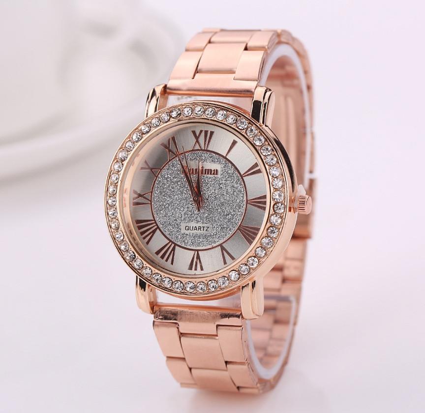 Женские наручные часы Geneva стильные и модные часики на руку с камнями золото серебро Розовый