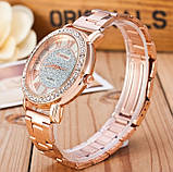 Женские наручные часы Geneva стильные и модные часики на руку с камнями золото серебро Розовый, фото 3