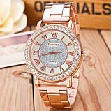 Женские наручные часы Geneva стильные и модные часики на руку с камнями золото серебро Розовый, фото 4