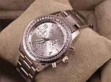 Стильные и модные женские наручные часы Geneva на руку с камнями сваровски золотистые Серебро, фото 3
