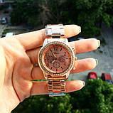 Стильные и модные женские наручные часы Geneva на руку с камнями сваровски золотистые Розовый, фото 3