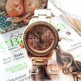 Стильные и модные женские наручные часы Geneva на руку с камнями сваровски золотистые Розовый, фото 7