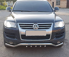 Кенгурятник изогнутый ус на Volkswagen Touareg (2002-2010) Фольксваген Туарег