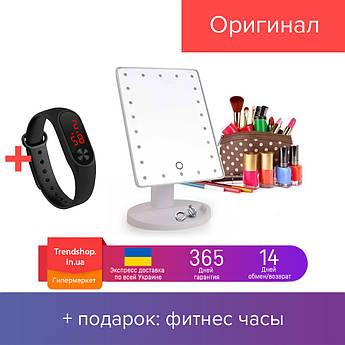 Настольное зеркало для макияжа с диодами | зеркало с 16-LED подсветкой прямоугольное LED Mirror Magic Make Up