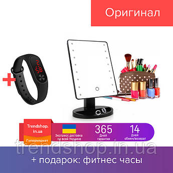 Настольное зеркало для макияжа с диодами | зеркало с 16-LED подсветкой прямоугольное LED Mirror Magic  Черный