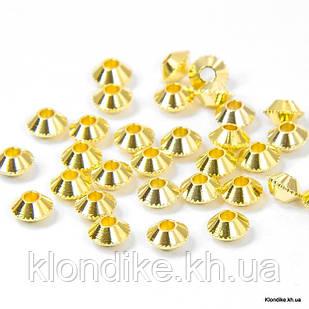 Бусины-Разделители, Биконус, Металл, 4 мм, Цвет: Золото (100 шт.)