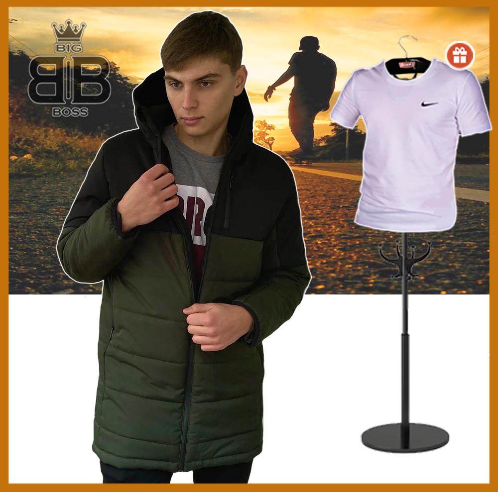 """Куртка мужская с капюшоном демисезонная """"Fusion"""" бренда Big Boss (хаки - черная) + подарок"""
