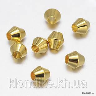 Бусины-Разделители, Биконус, Латунь, 4×4 мм, Цвет: Золото (20 шт.)