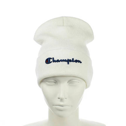 Шапка - Champion / Чемпіон Біла - молодіжна шапка-лопата з відворотом, фото 2