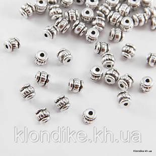 Бусины-Разделители, Бочонок, Металлические, 5×5×5 мм, Цвет: Античное Серебро (50 шт.)