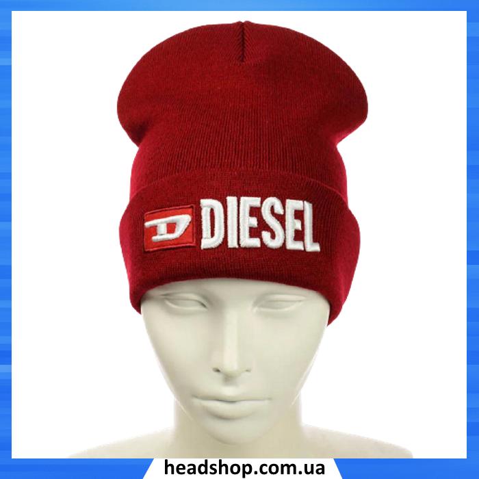 Шапка DIESEL Червона - молодіжна шапка-лопата з відворотом