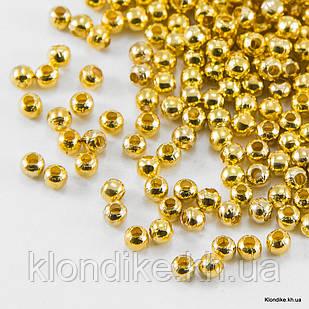 Бусины-Разделители, Круглые, Железо, 5 мм, Цвет: Золото (~250 шт.)