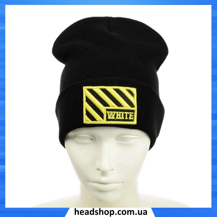 """Шапка """"OFF-WHITE"""" Чорна з жовтою вишивкою - молодіжна шапка-лопата з відворотом"""