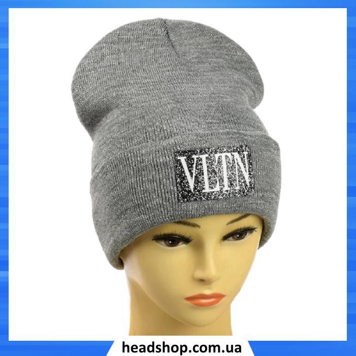 Женская шапка с люрексом VLTN Серая - Молодежная шапка -лопата с отворотом